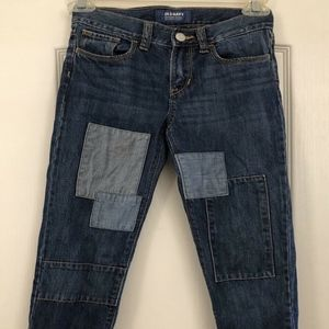 EUC Old Navy Girls Boyfriend Jeans Patchwork Sz 8